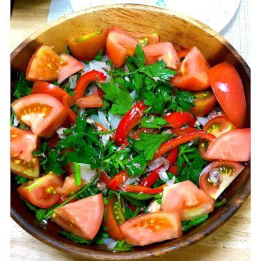 【簡単料理】カンタン酢で!鯖缶と玉ねぎと彩り野菜のマリネサラダ【おしゃれサラダ】