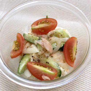 【簡単料理】玉ねぎときゅうりのカンタンツナマヨサラダ・レンジですぐ!とうもろこし